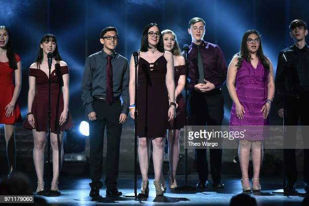 Marjory Stoneman Douglas High School drama students perform onstage during the 72nd Annual Tony Awards at Radio City Music Hall on June 10 2018 in...