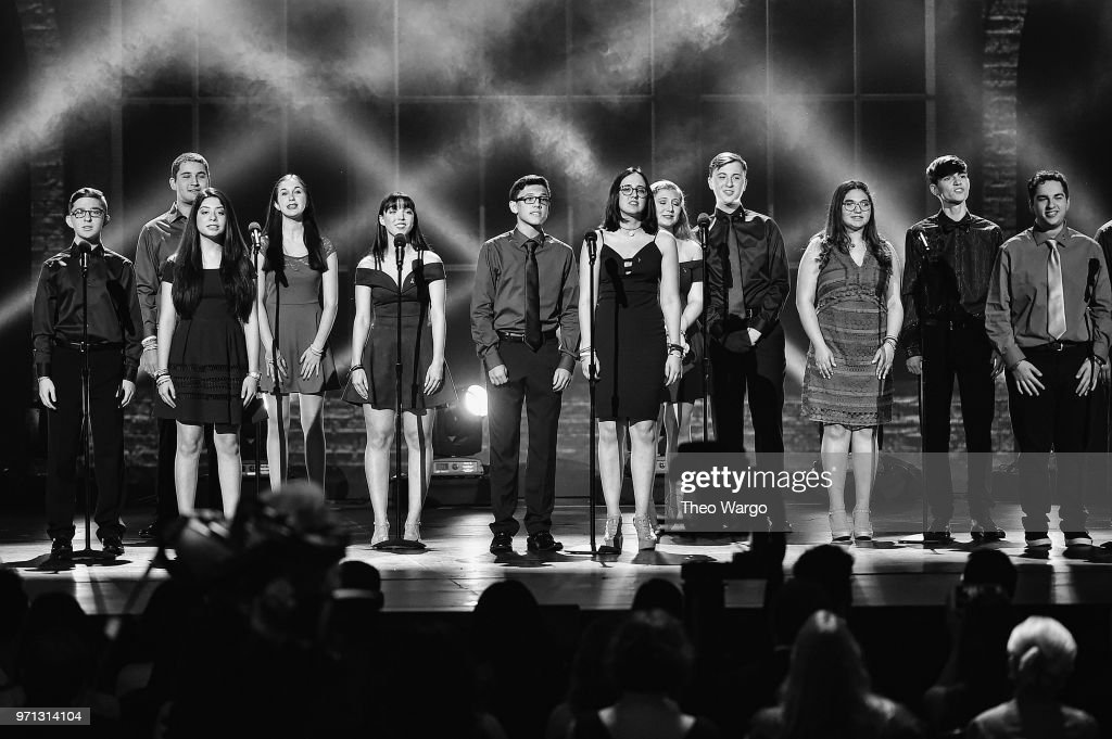 Marjory Stoneman Douglas High School drama students perform onstage during the 72nd Annual Tony Awards at Radio City Music Hall on June 10, 2018 in New York City.