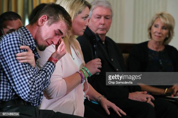 Marjory Stoneman Douglas High School senior Samuel Zeif weeps after talking about how his best friend was killed during last week's mass shooting...