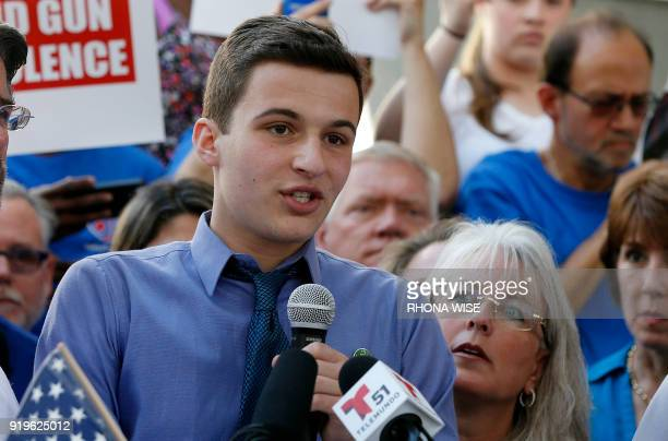 Marjory Stoneman Douglas High School student Cameron Kasky speaks at a rally for gun control at the Broward County Federal Courthouse in Fort...