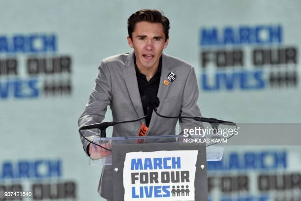 Marjory Stoneman Douglas High School student David Hogg speaks during the March for Our Lives Rally in Washington DC on March 24 2018 Galvanized by a...