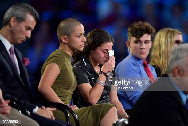Marjory Stoneman Douglas High School student Emma Gonzalez comforts a classmate during a CNN town hall meeting on Wednesday Feb 21 at the BBT Center...