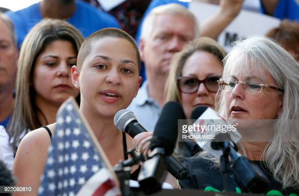 Marjory Stoneman Douglas High School student Emma Gonzalez is hugged by a friend following her speech at a rally for gun control at the Broward...