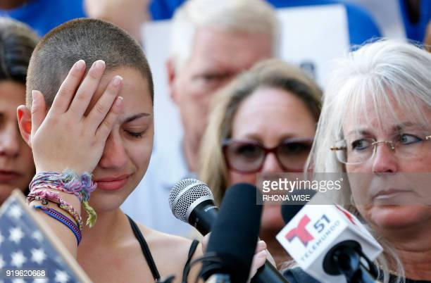 TOPSHOT Marjory Stoneman Douglas High School student Emma Gonzalez reacts during her speech at a rally for gun control at the Broward County Federal...