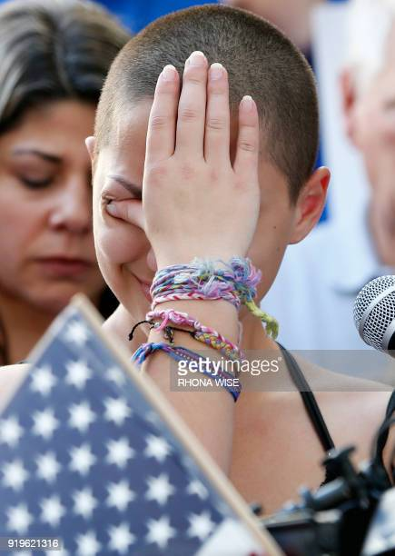 Marjory Stoneman Douglas High School student Emma Gonzalez reacts during her speech at a rally for gun control at the Broward County Federal...