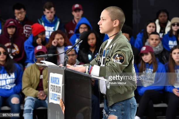 Marjory Stoneman Douglas High School student Emma Gonzalez speaks onstage at March For Our Lives on March 24 2018 in Washington DC