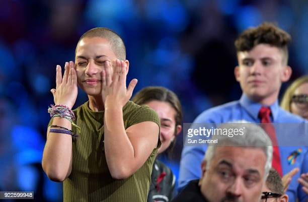 Marjory Stoneman Douglas High School student Emma Gonzalez wipes away tears during a CNN town hall meeting on Wednesday Feb 21 at the BBT Center in...