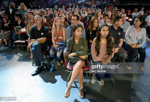 Marjory Stoneman Douglas High School students and parents wait for a CNN town hall meeting to begin on Wednesday Feb 21 at the BBT Center in Sunrise...