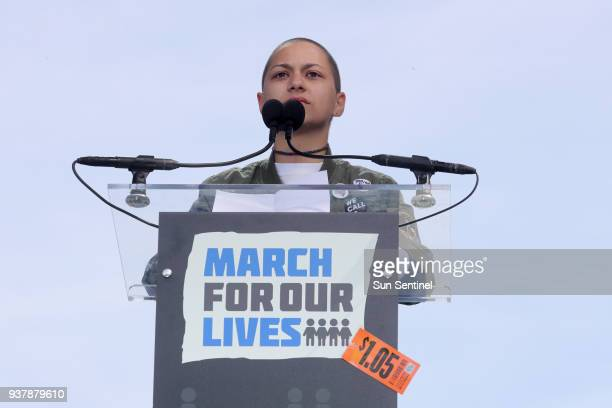 Marjory Stoneman Douglas student Emma Gonzalez speaks to the crowd during March for Our Lives to demand stricter gun control laws on Saturday March...