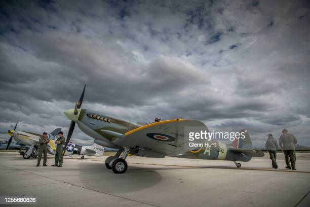 Mark 16 Spitfire and a P51D Mustang are seen on Brisbane's new Runway at an event to celebrate the runway's opening on July 12 2020 in Brisbane...