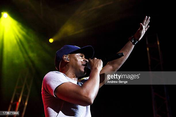 Mark 7even of Jurassic 5 performs on stage at Leeds Academy on July 16 2013 in Leeds England