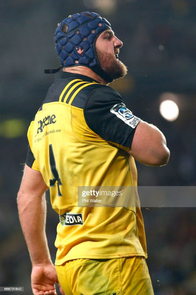 Mark Abbott of the Hurricanes celebrates his try during the round eight Super Rugby match between the Blues and the Hurricanes at Eden Park on April 15, 2017 in Auckland, New Zealand.