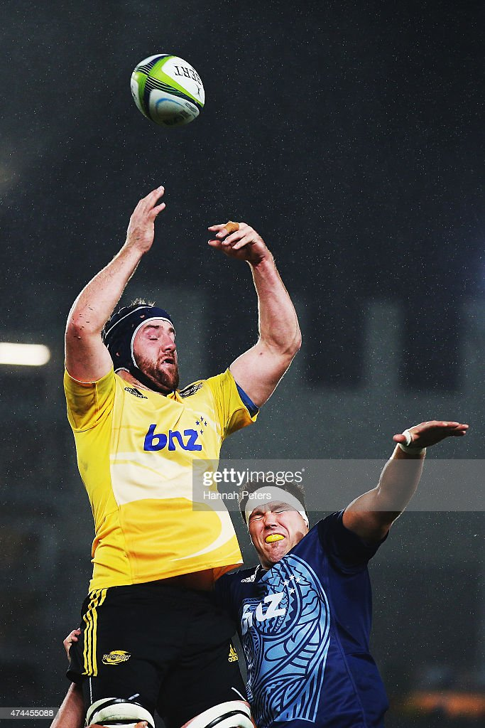 Mark Abbott of the Hurricanes loses the lineout ball during the round 15 Super Rugby match between the Blues and the Hurricanes at Eden Park on May 23, 2015 in Auckland, New Zealand.