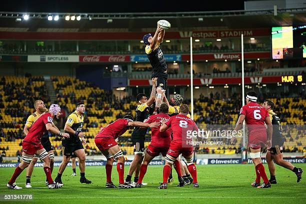 Mark Abbott of the Hurricanes wins a lineout during the round 12 Super Rugby match between the Hurricanes and the Reds at Westpac Stadium on May 14...