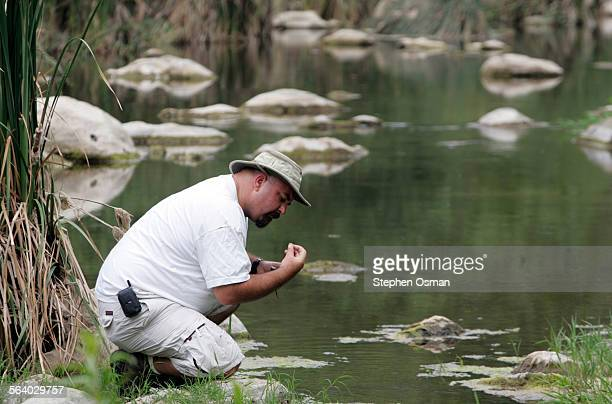 Mark Abramson stream team manager with Heal the Bay checks Malibu Creek for mudsnails The mudsnails have landed Local conservation groups were...