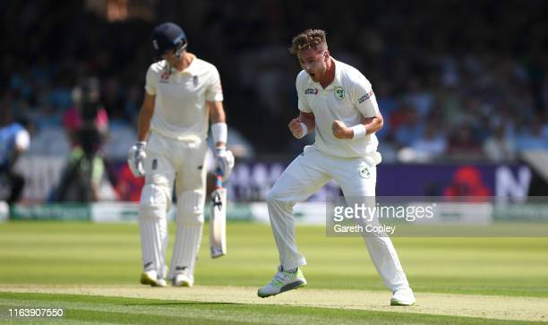 Mark Adair of Ireland celebrates dismissing Joe Denly of England during day one of the Specsavers Test Match between England and Ireland at Lord's...