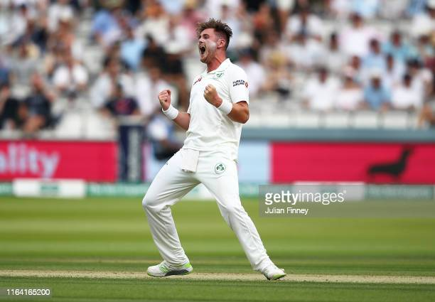 Mark Adair of Ireland celebrates his wicket of Jonny Bairstow of England during day two of the Specsavers Test Match between England and Ireland at...
