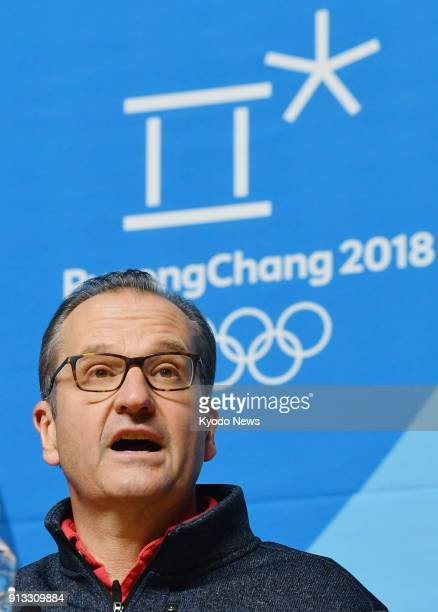 Mark Adams director of communications for the International Olympic Committee speaks in Pyeongchang South Korea on Feb 1 after the Court of...