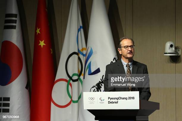 Mark Adamsspokesperson of the IOC Prrsident attends the PyeongChang 2018 Debrief on June 4 2018 in Beijing China