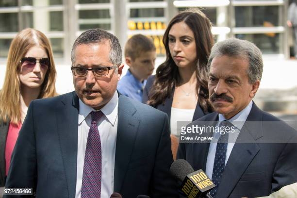 Mark Agnifilo and Paul DerOhannesian, attorneys representing Keith Raniere and Allison Mack, speak to reporters following a status conference where...