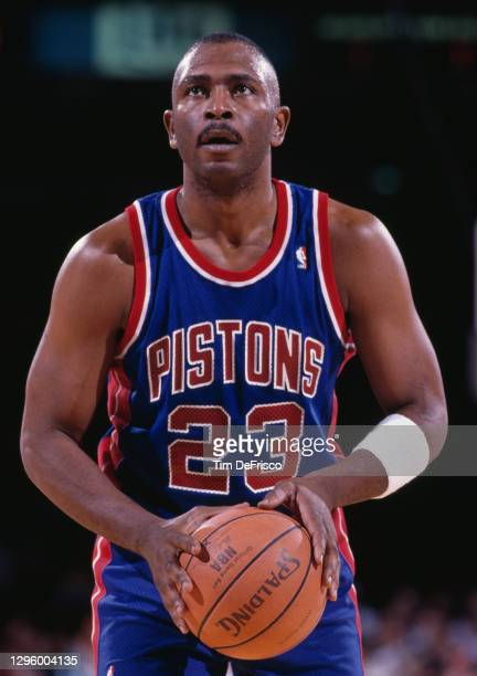Mark Aguirre, Small Forward for the Detroit Pistons prepares to make a free throw during the NBA Midwest Division basketball game against the Denver...