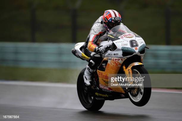 Mark Aitchison of Australia on the Ducati 1089R for Team Effenbert Liberty Racing competes during the World Superbikes Practice Session at TT Circuit...