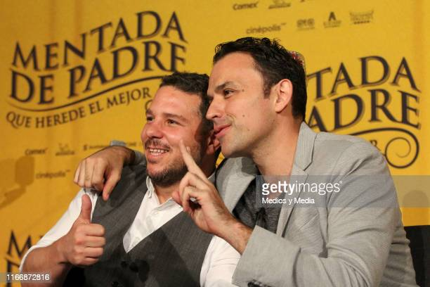 Mark Alazraki and Fernando Rovzar pose for a photo during a press conference of the film 'Mentada de Padre' at Cinepolis Universidad on August 8 2019...