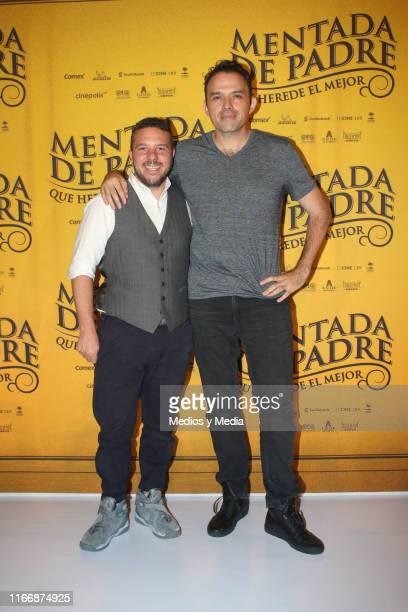 Mark Alazraki and Fernando Rovzar pose for photos during a press conference of the film 'Mentada de Padre' at Cinepolis Universidad on August 8 2019...