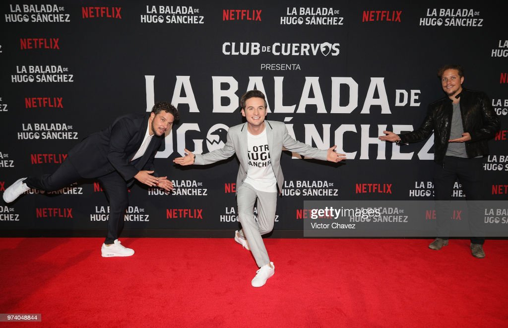 Mark Alazraki, Jesus Zavala and Gas Alazraki attend Netflix 'La Balada de Hugo Sanchez' special screening at Alboa Patriotismo on June 13, 2018 in Mexico City, Mexico.