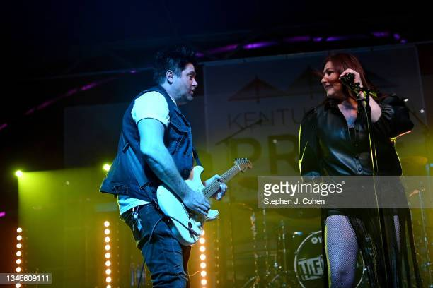Mark Alberici and Tiffany performs during the 2021 Kentuckiana Pride Festival at Big Four Lawn at Louisville Waterfront Park on October 08, 2021 in...