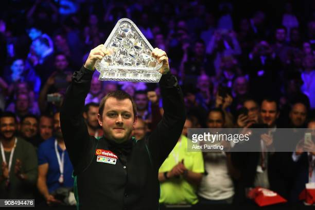 Mark Allen celebrates victory following The Dafabet Master Final between Kyren Wilson and Mark Allen at Alexandra Palace on January 21 2018 in London...