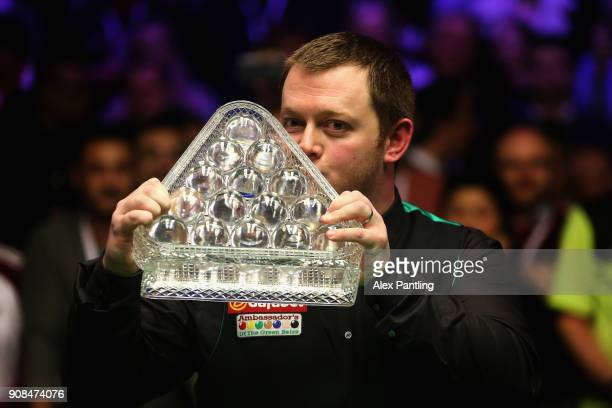 Mark Allen kisses the trophy following victory in The Dafabet Master Final between Kyren Wilson and Mark Allen at Alexandra Palace on January 21 2018...