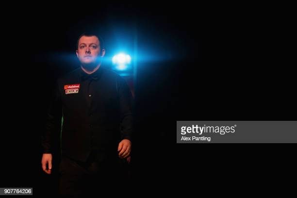 Mark Allen makes his way to the table during the SemiFinal match between Mark Allen and John Higgins on Day Seven of The Dafabet Masters at Alexandra...