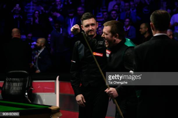 Mark Allen of Northern Ireland celebrates after winning the final match against Kyren Wilson of England on day eight of The Dafabet Masters at...