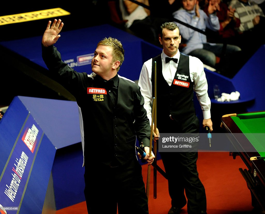 Mark Allen of Northern Ireland celebrates his victory over Mark Davis of England during the Betfred.com World Snooker Championships match at The Crucible Theatre on April 23, 2010 in Sheffield, England.