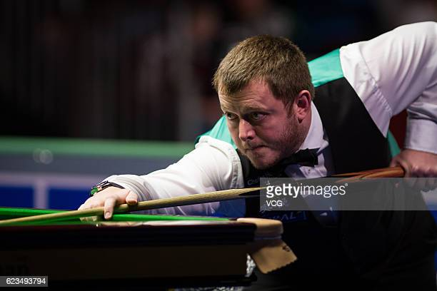 Mark Allen of Northern Ireland plays a shot during the first round match against Mark Joyce of England on day two of Coral Northern Ireland Open 2016...