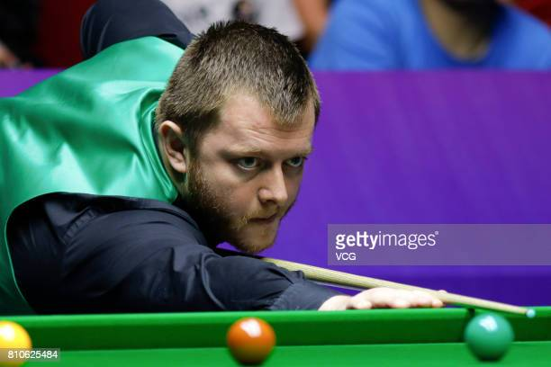Mark Allen of Northern Ireland plays a shot during the group match between England and Northern Ireland on day six of 2017 Snooker World Cup...