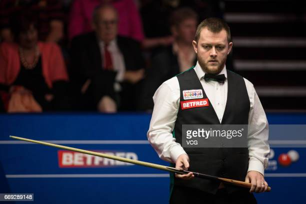 Mark Allen of Northern Ireland reacts during his first round match against Jimmy Robertson of England on day two of Betfred World Championship 2017...
