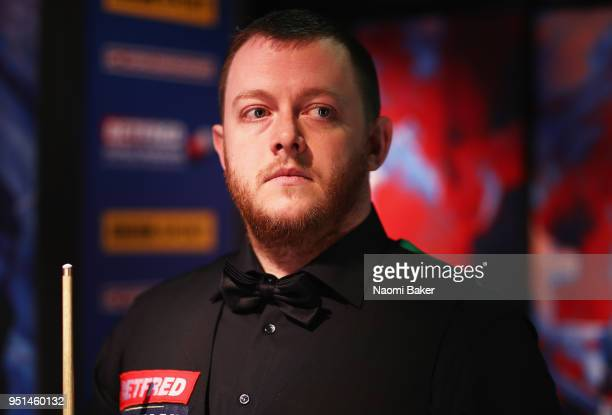 Mark Allen of Northern Ireland waits to go on stage prior to his second round match against Joe Perry of England during day six of the World Snooker...