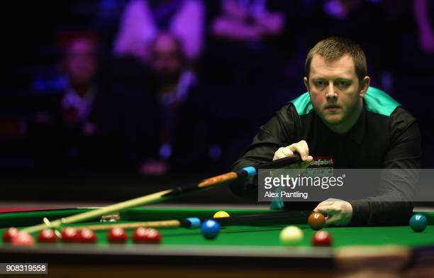 Mark Allen plays a shot during The Dafabet Master Final between Kyren Wilson and Mark Allen at Alexandra Palace on January 21 2018 in London England