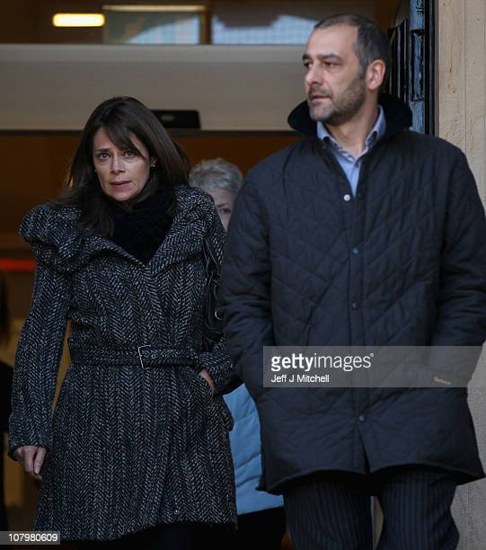 Mark and Karen Porcelli parents of Ben Porcelli leave Lanark Sheriff Court after attending the fatal accident inquiry into the helicopter crash that...