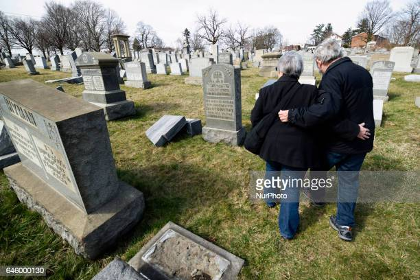 Mark and Mickey Levin of Plymouth Meeting visit the Mt Carmel Jewish Cemetery in Northwest Philadelphia PA on Feb 27 2017 Where they find a family...