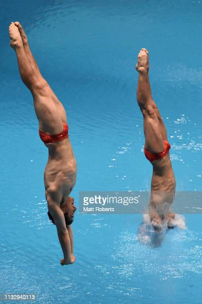 Mark Anderson and Tyler Downs of USA compete during the Men's 3m Synchro Springboard Final on day one of the FINA Diving World Cup Sagamihara at...