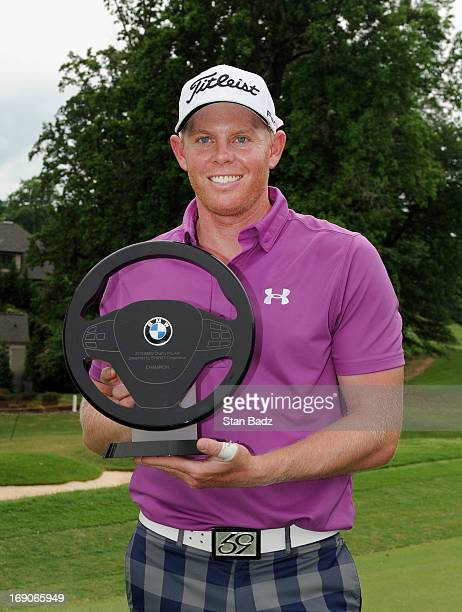 Mark Anderson poses with the winner's trophy after the final round of the BMW Charity ProAm Presented by SYNNEX Corporation at the Thornblade Club on...