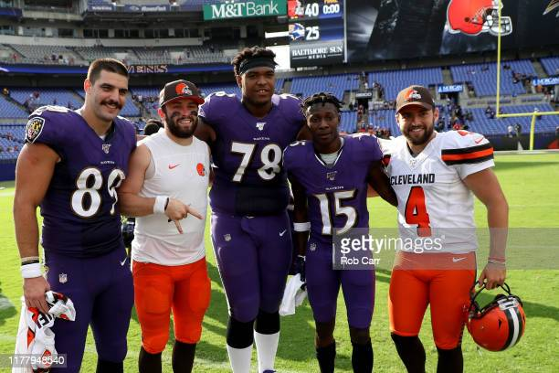 Mark Andrews Baker MayfieldOrlando Brown Marquise Brown and Austin Seibert pose for a photo following the Cleveland Browns and Baltimore Ravens game...