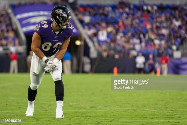 Mark Andrews of the Baltimore Ravens awaits the snap against the Jacksonville Jaguars during the first half of a preseason game at MT Bank Stadium on...