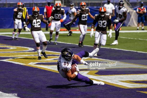Mark Andrews of the Baltimore Ravens catches a pass for a touchdown against the Cleveland Browns during the first half at M&T Bank Stadium on...