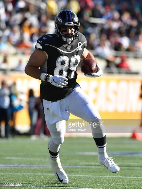 Mark Andrews of the Baltimore Ravens runs with the ball during the 2020 NFL Pro Bowl at Camping World Stadium on January 26 2020 in Orlando Florida