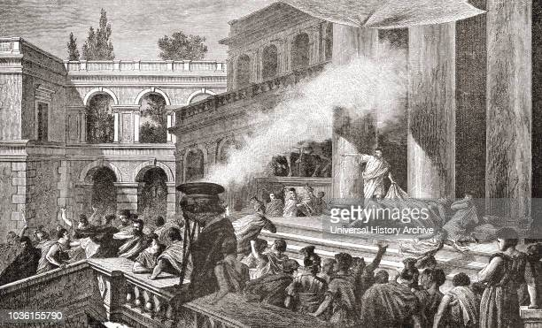 Mark Antony showing the Roman people the corpse of Julius Caesar Marcus Antonius 83 BC 30 BC aka Mark or Marc Antony Roman politician general and...