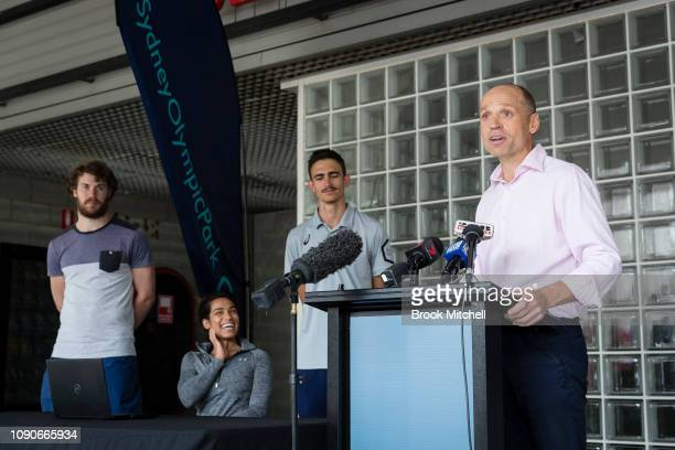 Mark Arbib from Athletics Australia speaks to the media during a media opportunity announcing the installation of an air quality monitor at Sydney...